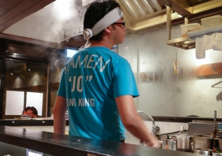 The open kitchen gives you full view of the making of your ramen