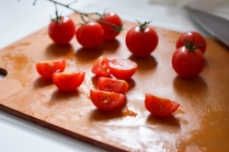 Quartered cherry tomtoes