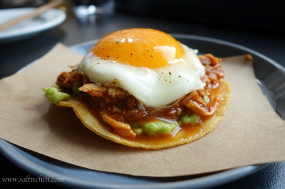 Chino Chicken & Egg Tostadas